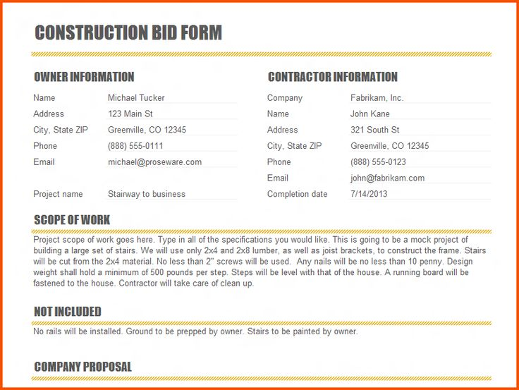 9 best Contractor Forms images on Pinterest Construction bids - bid proposal sample