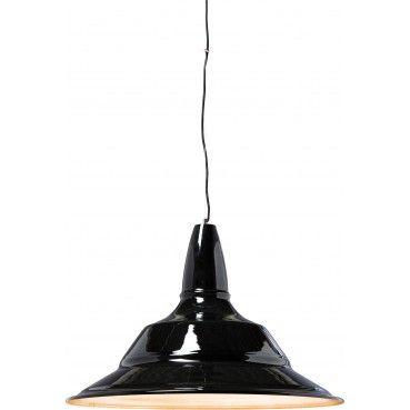 #Lampe suspension qui se distingue avec son #design envoûtant. Forme expressive et surface brillante dans un #noir profond. Fabriqué en aluminium robuste. L'intérieur est couleur doré. Un détail qui finit cette belle pièce, le câble est recouvert de tissu.  Suspension Plate Noire 70cm Kare #Design