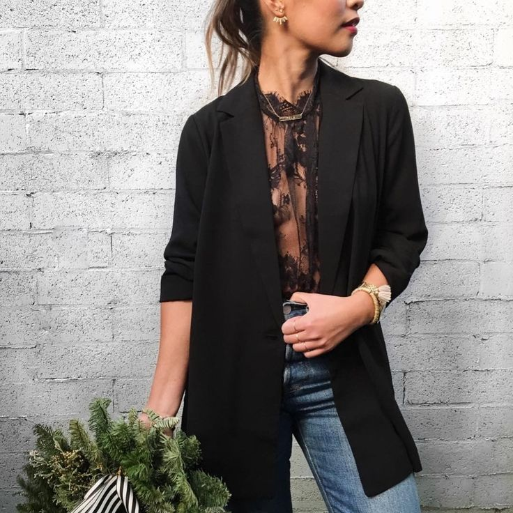 Try a sheer lace blouse under a blazer for your next #GNO