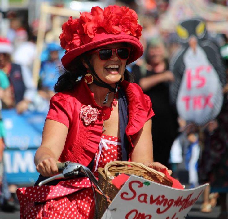 #frocksonbikes   #redhat #hatoverbicyclehelmet #tanyabatt #waihekeisland #madeinnz