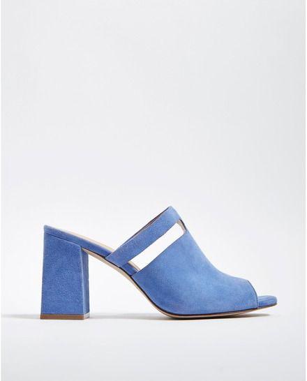 Sandalias de tacón de mujer Adolfo Dominguez de piel azul