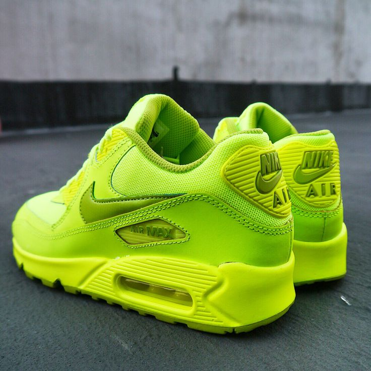 Nike Air Max 90 GS Volt Green 2014 Girls Youth Womens Running Shoes Limited  QS