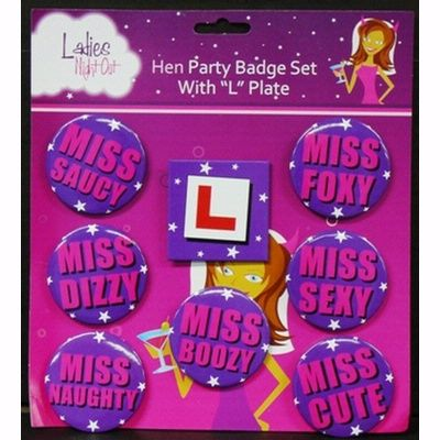"http://www.hensandbrides.com.au/item_841/Learner-Bride-Badge-Set.htm   Identify each girl in your party with this set of 8 badges.  The bride to be wears the L plate and the other girls can fight between 'Miss Saucy', 'Miss Dizzy"", Miss Naughty"", 'Miss Foxy', 'Miss Sexy', 'Miss cute' and 'Miss Boozy'.   Price: $12.95"