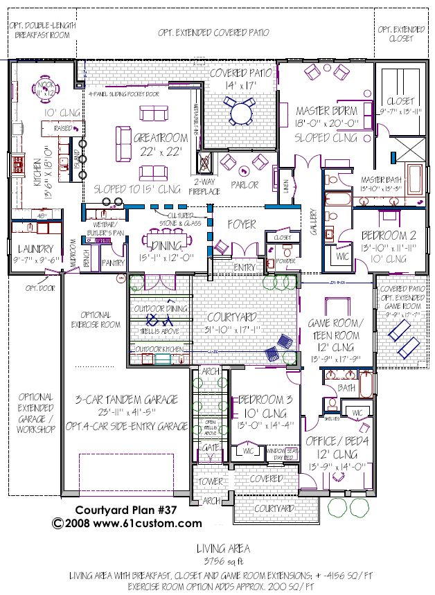 Interesting building plan. But notice this is all one floor. If it was separated into two floors, you could do a whole lot more with each floor. And have an upper floor courtyard. Cool!