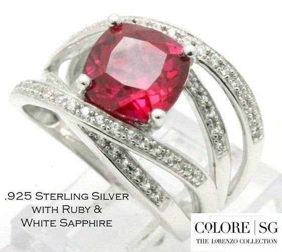 Solid .925 Sterling Silver & 18k White Gold, 4.31ctw Ruby & White Sapphire Designer Authentic ColoreSG by LORENZO Ring