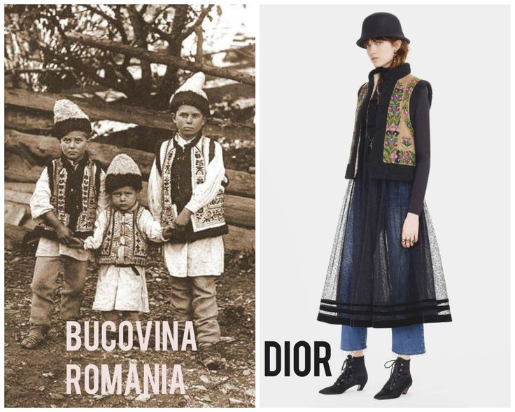 Christian Dior Pre Fall 2017 inspired by Romanian Traditional Costume from Bucovina. #givecredit #respectculture
