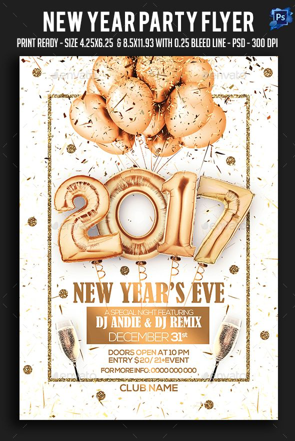 Best New Year Party Flyer Templates Images On