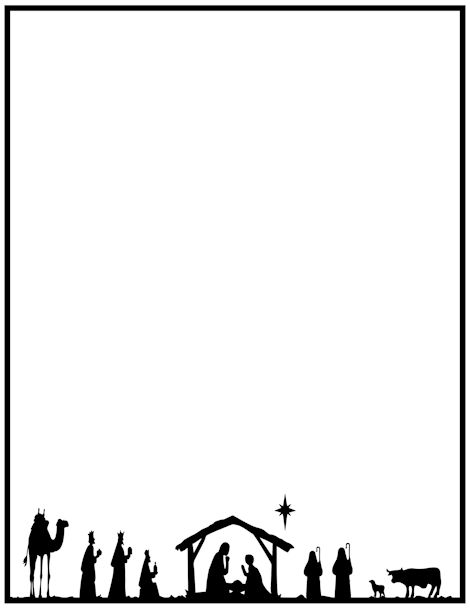 Printable nativity border. Free GIF, JPG, PDF, and PNG downloads at http://pageborders.org/download/nativity-border/. EPS and AI versions are also available.