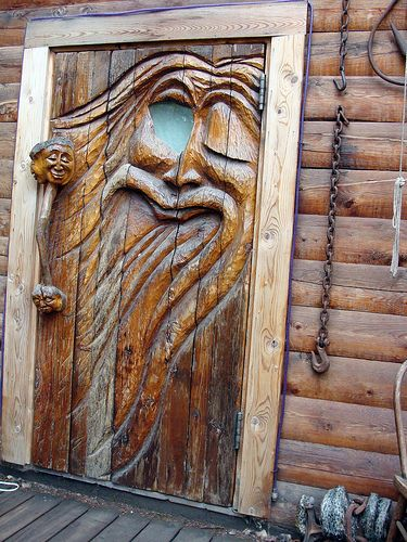Carved Door In Ester-Alaska by Ruth Jensen~I'm pretty sure that that's a big crystal in the open eye :)