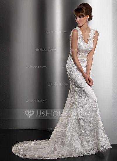 Mermaid Wedding Dresses Kent : Wedding dresses sheath column v neck court train charmeuse