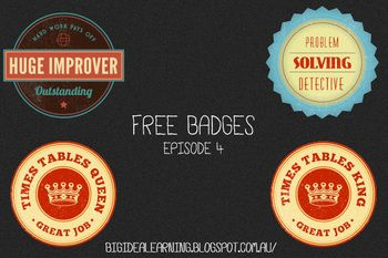 really wanted to make something fun and a little bit different, styled with a retro theme. So, here are four more badges which you can print off or insert into docs for use however you like.  I enjoyed making them and hope you can find a way to use them :)  I have also released episode 1,episode 2 and episode 3.