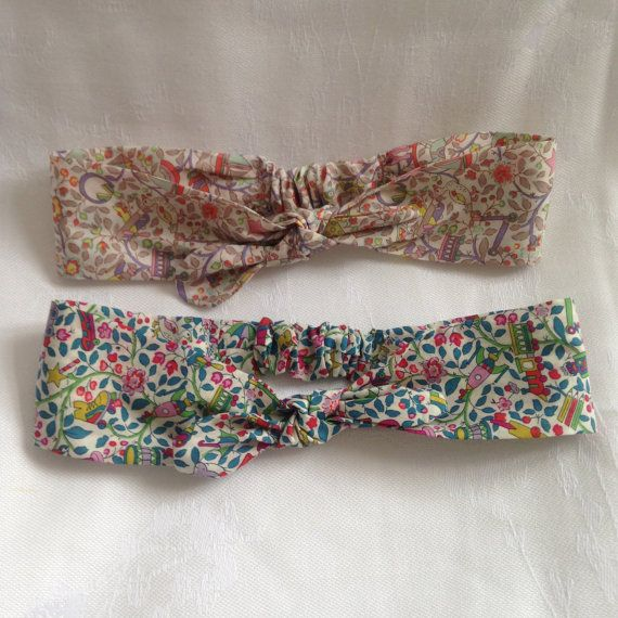 Handmade Liberty girls elasticated headband by DollyOliveShop