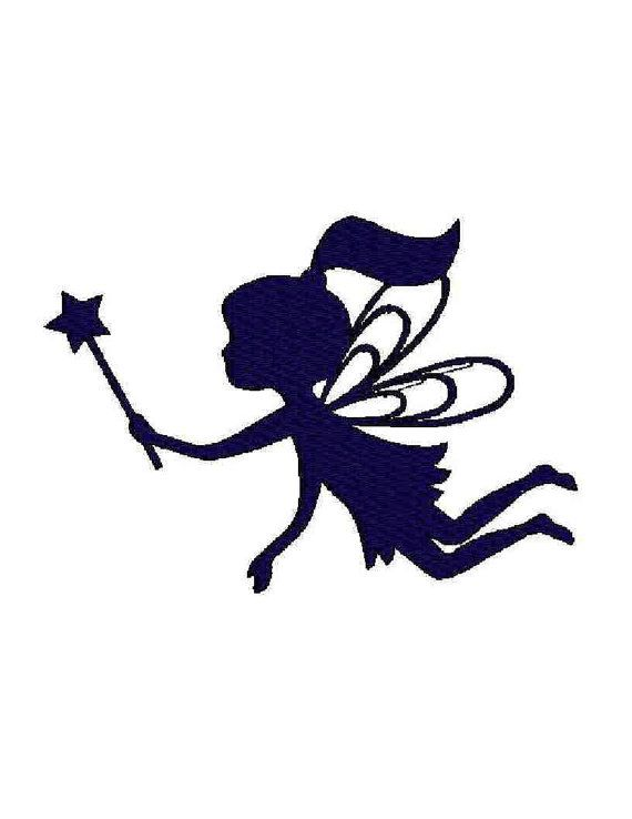 INSTANT Download - Fairy Silhouette digital Maschine Stickerei Design Füllung und Kontur