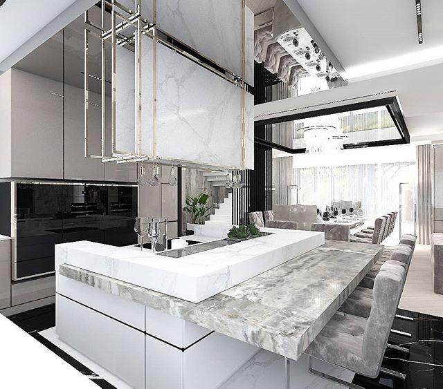 Nowoczesna Kuchnia Z Ciekawie Zaprojektowana Wyspa Wnetrze Jest Eleganckie I Wygodne Dla U Dream Kitchens Design Elegant Kitchen Design Luxury Kitchen Design