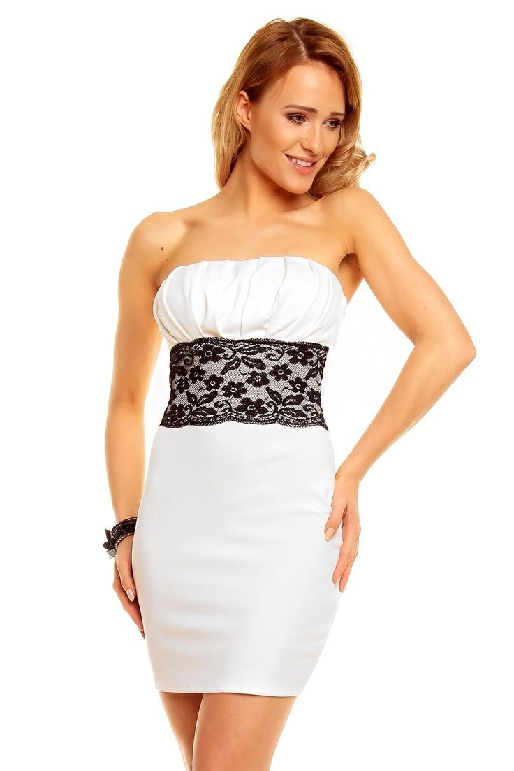 Robe bustier pas cher robe bustier courte pas cher robe bustier Blanc TM-5652 - ToufaMode
