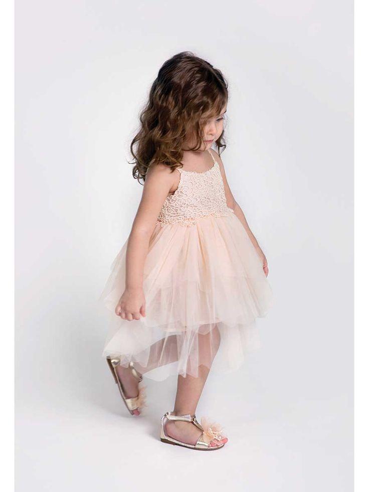 Soft pink tulle christening dress