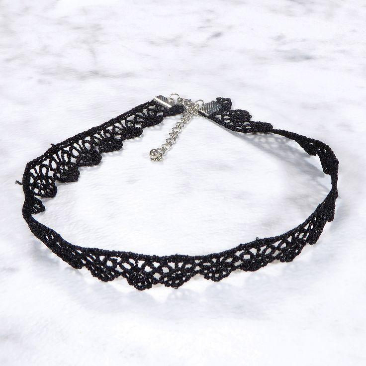Adjustable Black Lace Choker