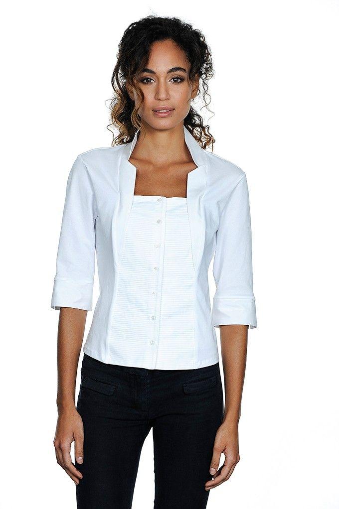 Blusa in cotone, plastron plissettato, collo a punte