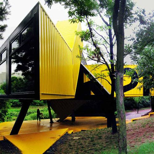 Constructed from 8 shipping containers by Lot-EK