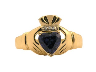 Yellow Gold Men's Sapphire and Diamond Claddagh Ring Gemologica.com offers a large selection of Irish Claddagh Symbol Rings in Sterling Silver, 10K, 14K and 18K yellow, rose and white gold with birthstones and gemstones and wedding and engagement rings for men and women. Women's claddagh rings at www.gemologica.com/claddagh-rings-c-27_307.html Men's claddagh rings at www.gemologica.com/mens-claddagh-rings-c-28_46_17