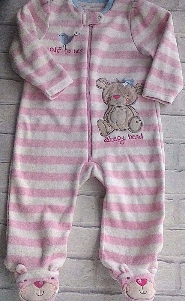 BHS Baby Girls Fleece All in One Pink & White Striped 9-12 months #BHS