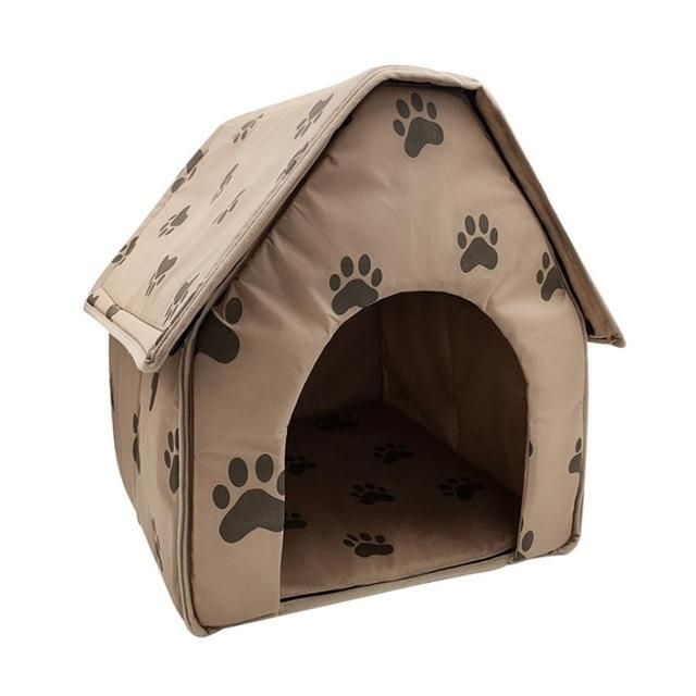 Warm Cat Bed Dog House Foldable Soft Feet Printed Pet Dog Puppy