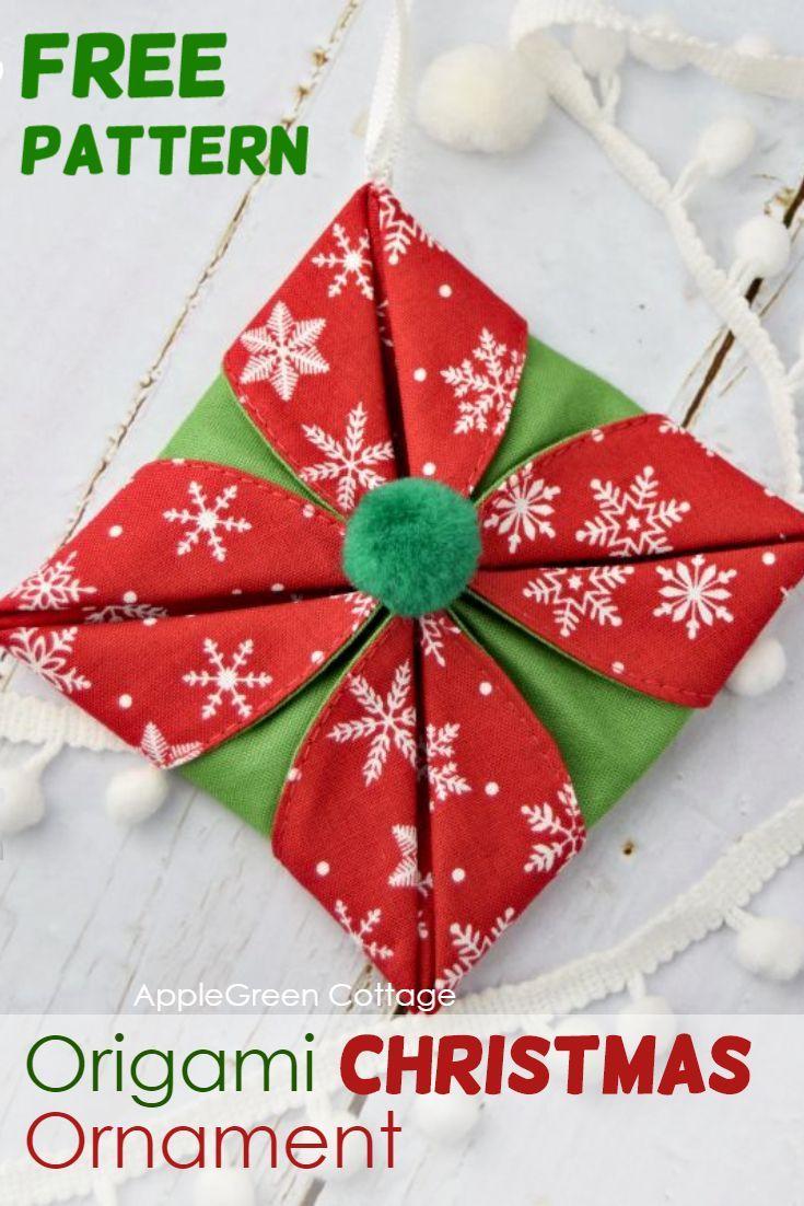 Origami Christmas Ornaments Applegreen Cottage Christmas Origami Origami Christmas Ornament Fabric Origami
