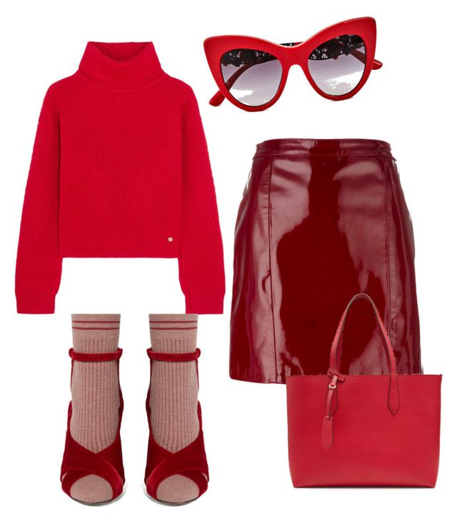 """""""Woman in red"""" by irini-stam on Polyvore featuring Versace, Manokhi, Burberry, Fendi and Dolce&Gabbana"""