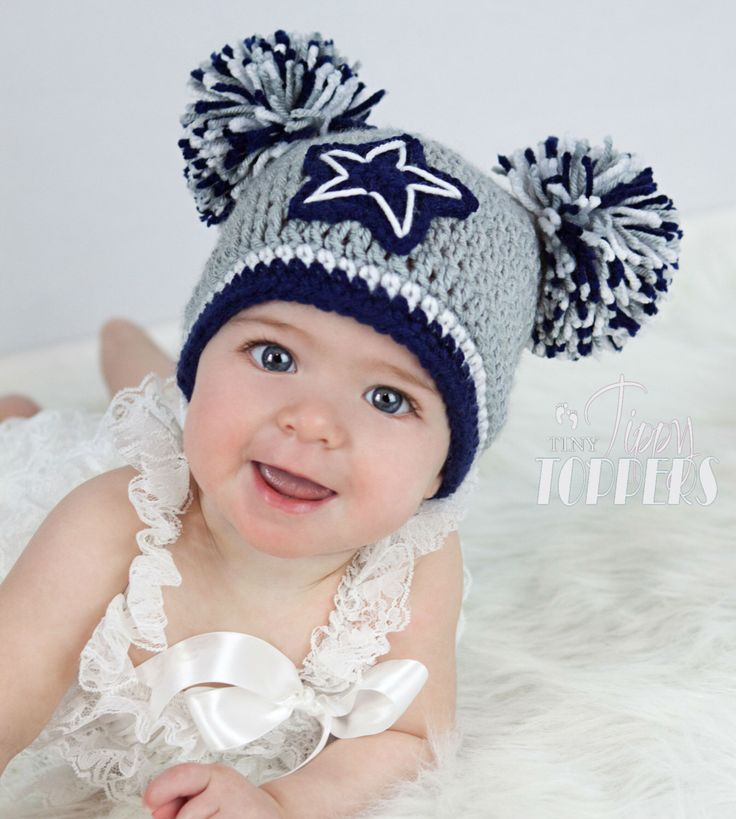 Crocheted DALLAS COWBOYS Hat cap beanie baby boy girl pom poms or ears by TinyTippyToppers on Etsy https://www.etsy.com/listing/119344490/crocheted-dallas-cowboys-hat-cap-beanie