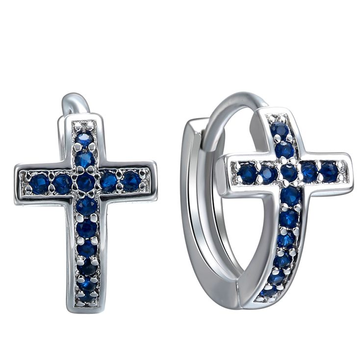 2016 fashion silver plated blue Zircon cross Earrings Summer New product jewelry for women wedding party Accessories