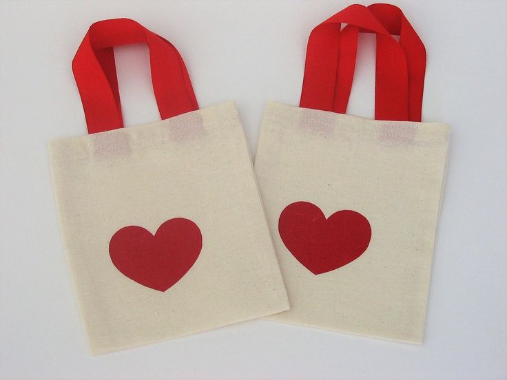 Mini HEART PRINT TOTES, Cotton Favor Gift Party Bags, Free Std.Shipping by WHISPbyAdri on Etsy