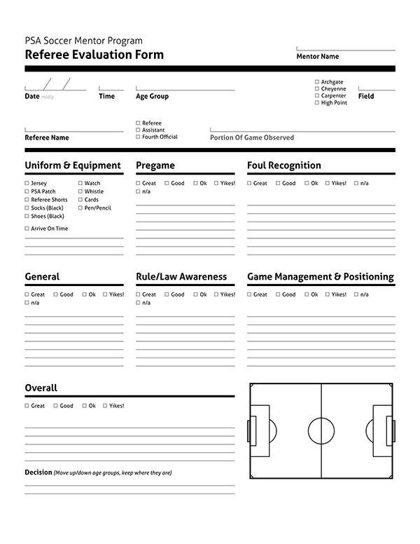 Document Design Psa Soccer Referees Evaluation Form On Behance Evaluation Form Soccer Referee Soccer