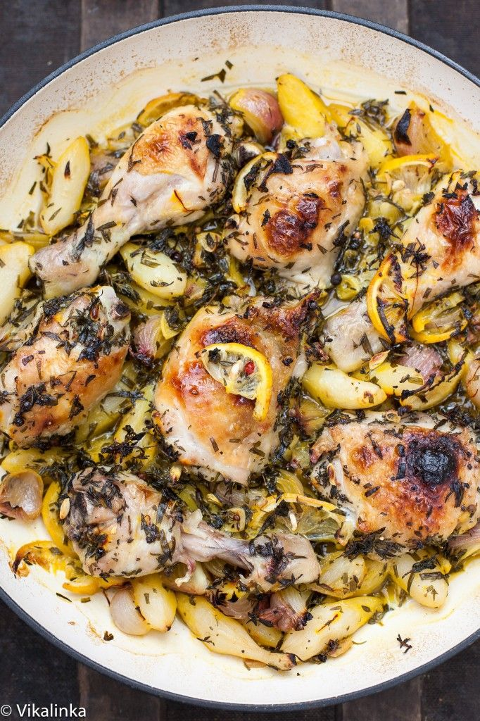 Roast Chicken with Jerusalem Artichokes and Lemons
