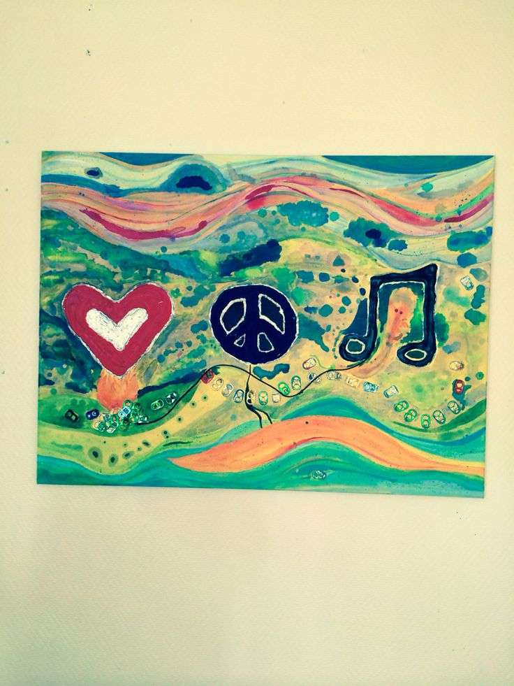 Peace love and music canvas