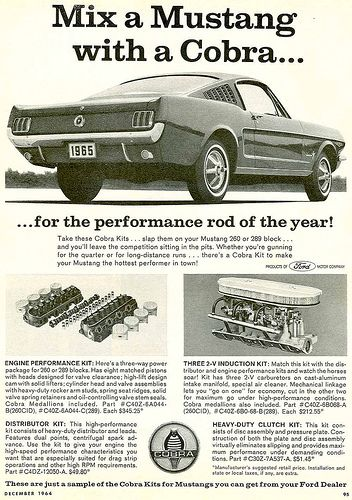 Instant 1965 Mustang Cobra kits. From the factory!!!