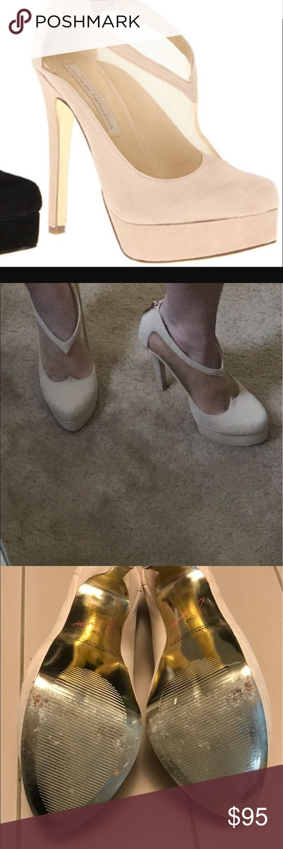"""Kristin Cavalari Chinese Laundry heels Almond toe ,mesh cutout ,back zipper,heel is approximately 5.25"""" and 1 inch platform. suedeike material wore 2x true to size kristin cavalari chinese laundry Shoes Heels"""