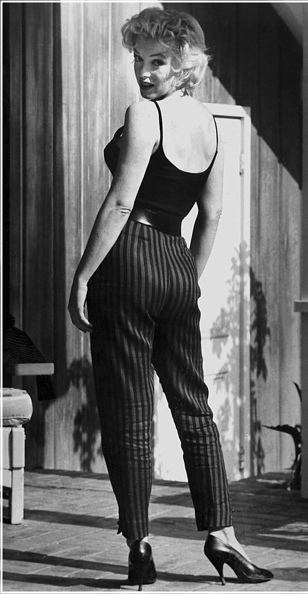 marilyn monroe striped pants old fashioned pinterest