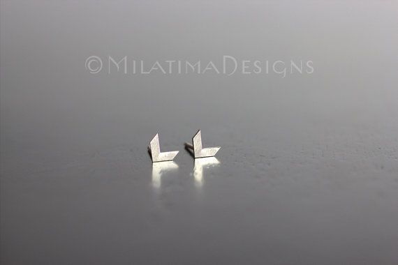 Tiny Chevron Earrings - Sterling Silver Stud Earrings, Minimalist Jewelry, Small Post Earrings, Silver Studs, Arrow Earrings, E021