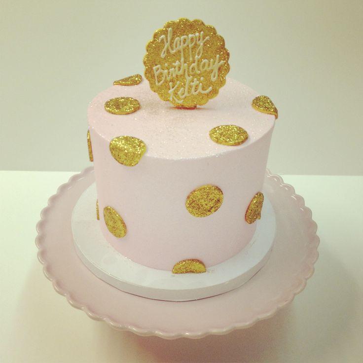 Pink and gold Polkadots birthday cake #polkadotscupcakefactory