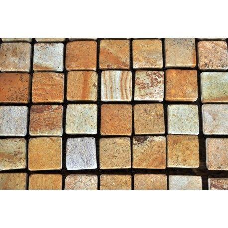 Mozaika kamienna na siatce z tworzywa ułatwiającej montaż. Cena dotyczy jednego plastra mozaiki w wymiarze 30x30 cm. -na 1m2 składa się 11 plastrów -Materiał:piaskowiec -Kolor: intensywniejszy odcień uzyskany został po impregnacji -Wymiar jednego elementu: ok. 3x3 cm