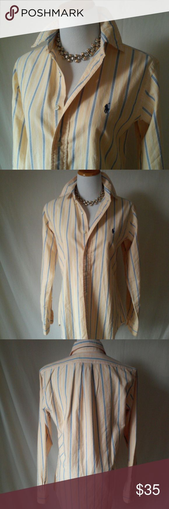 Ralph Lauren preppie yellow oxford shirt Yellow and blue striped, cotton oxford shirt only gets softer with every wash. Men's size small but can be worn oversized up to a size women's 8. Unworn. Ralph Lauren Shirts Casual Button Down Shirts