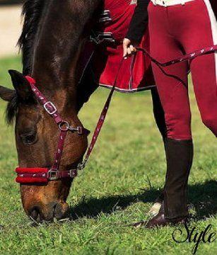 NORTON műszőrös kötőfék lovacskás mintával vezetőszárral
