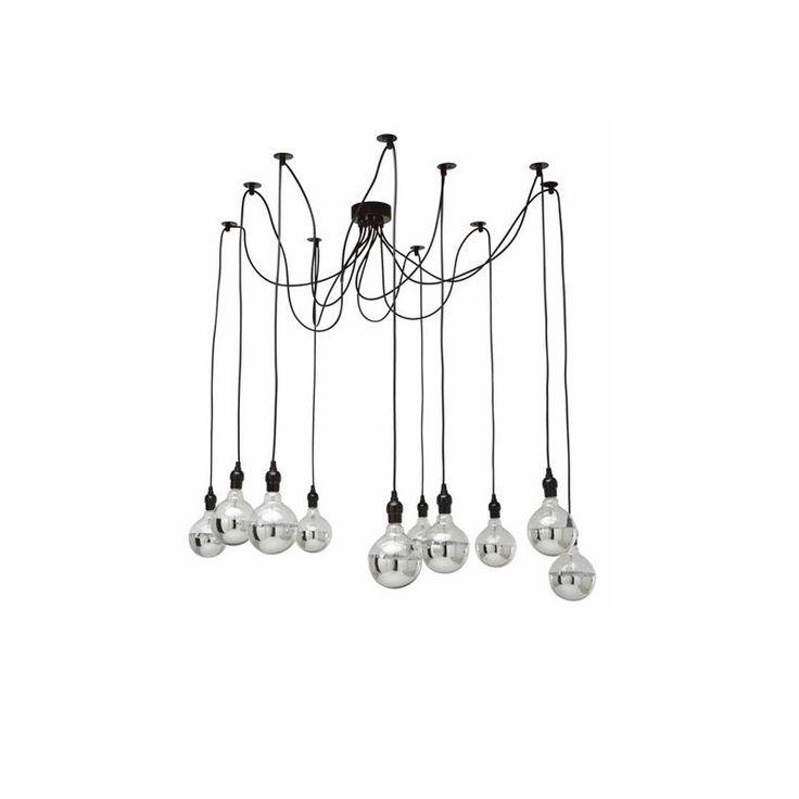 Esta especial lámpara, réplica  Edison Chandelier, agregará originalidad a tu ambiente. Material:  cable trenzado negroMedidas: La 160 cm ajustableNo incluye ampolletas