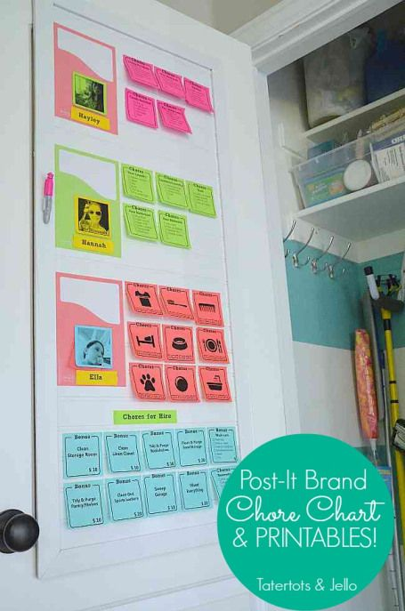 Kids chore chart using  post it notes -- genius!  Great ideas for younger & older kids, & free printables.