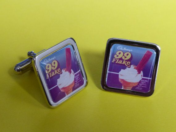 Vintage....  99 Flake Ice Cream Cufflinks by mixedupdolly on Etsy (Accessories, Cuff Links, designer, chrome, mixed up dolly, design, retro, vintage, advertising, chocolate, advert, ice cream, cone, 60's, 70's)