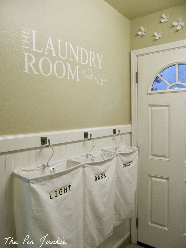 BEHIND THE BATHROOM DOOR ON THE WALL -  Install Hooks To Hang Personalized Hanging Laundry Bags