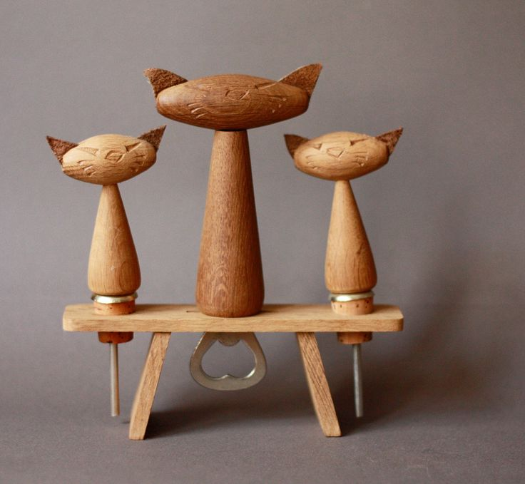 Mid Century Modern Bottle Opener Teak Set with 3 Cats. €32,00, via Etsy. @Megan Wall these reminded me of you!