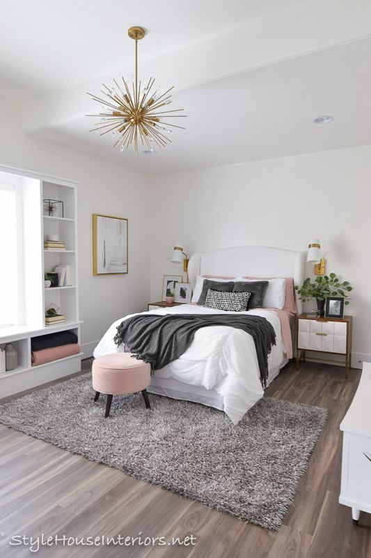 Boho Glam White bedroom makeover - One room challenge reveal - Style House Interiors