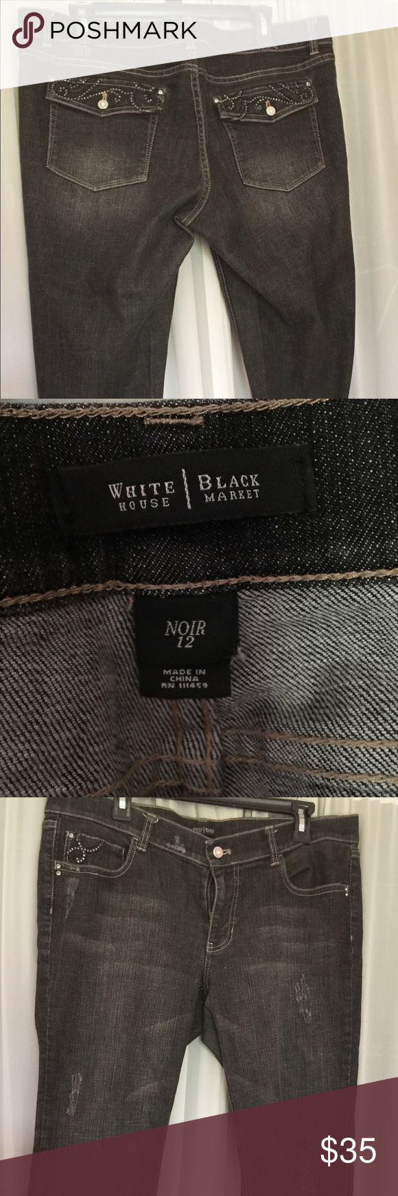 White House Black Market jeans Black bootcut jeans with light distressing and bling on back pockets. Light worn..no rips or stains White House Black Market Pants Boot Cut & Flare