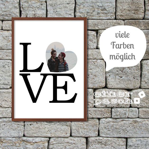LOVE Print mit Foto im Herz zum Valentinstag, Geburtstag, Jahrestag oder…